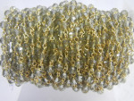 Smoky Glass Bead Gold Plated Sterling Silver Wire Wrapped Chain