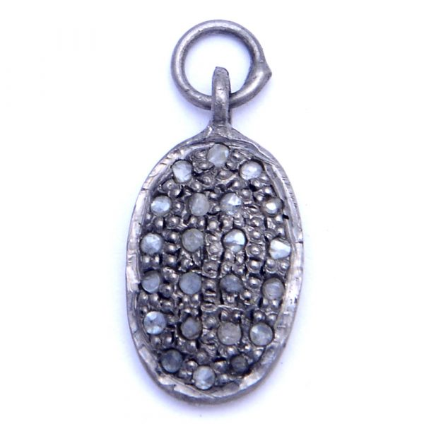 Ideal Pave Diamond Oval Charm Pendant | Indian Gemstone Exporters VD91