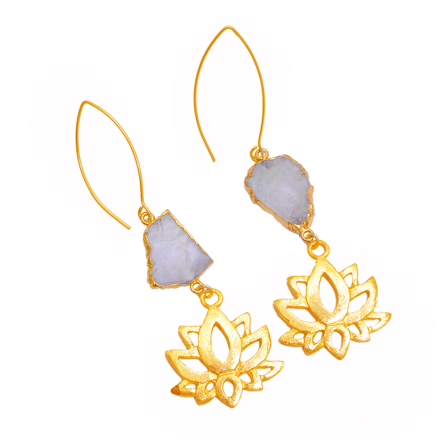 Gold Plated Rainbow Moonstone Slice With Lotus Flower Charm Drop