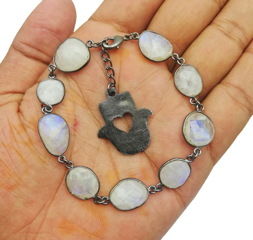Gunmetal Rainbow Moonstone Bezel Gemstone Bracelet with Hamsa Charms