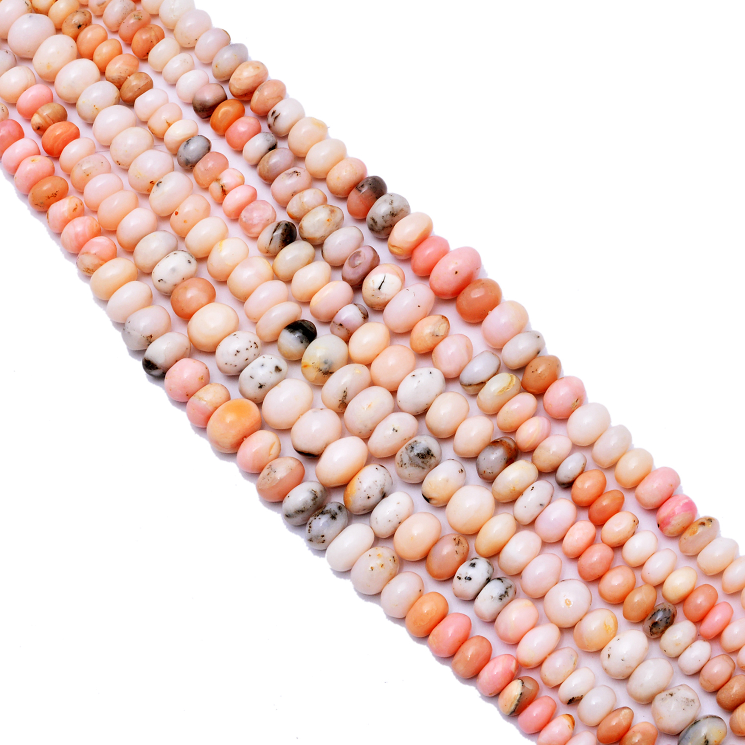 1 Strand 8mm-9mm Pink Opal Smooth Beads Stone Smooth  Rondelles 14 inch Strands